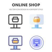 pacote de ícones da loja online em diferentes estilos vetor