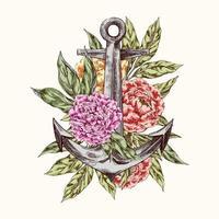 o logotipo da âncora do mar com flores peônias vetor