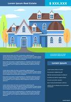 Vetor de folheto de listagem de imóveis azul