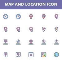 mapa e ícone de localização pacote isolado no fundo branco. para o design do seu site, logotipo, aplicativo, interface do usuário. ilustração de gráficos vetoriais e curso editável. eps 10. vetor