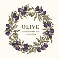 coroa de flores com ramos de oliveira vetor