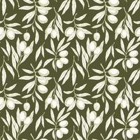 padrão sem emenda com ramos de oliveira vetor