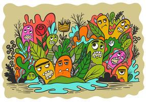 Monstros em um jardim vetor
