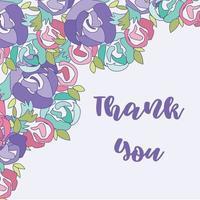 cartão de ação de graças, lindo modelo colorido para o feriado com fundo floral e letras de agradecimento vetor