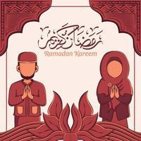 mão ilustrações desenhadas de celebração da festa ramadan kareem iftar. mês sagrado islâmico 1442 h.