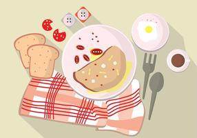 Ilustração conjunto manhã omelete tempo na tabela vetor