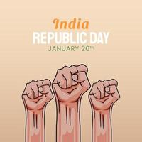 ilustração desenhada à mão do dia da república indiana vetor