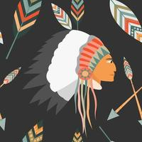 Padrão sem emenda de vetor com o perfil de um índio em um cocar com penas e flechas