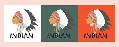imagem vetorial de um indiano de perfil com um cocar feito de penas e fitas. três opções de fundo