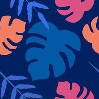 padrão sem emenda de vetor de folhas de monstera em um fundo azul
