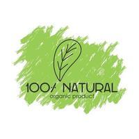 logotipo do vetor com a inscrição 100 produto orgânico natural com um elemento decorativo em um fundo verde ecológico