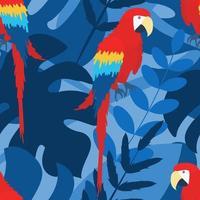 Padrão sem emenda de vetor com a imagem de uma arara vermelha em um galho em cores brilhantes sobre um fundo azul entre plantas tropicais
