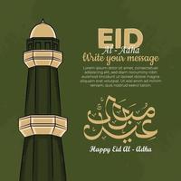 Cartões de caligrafia eid al-adha com a torre da mesquita em fundo verde.