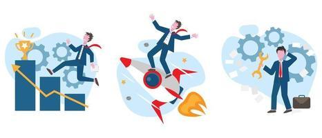 Conjunto de ilustração de conceito de realização de sucesso vetor