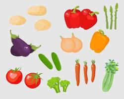 conjunto de vetores de vegetais ilustração dos desenhos animados em estilo simples