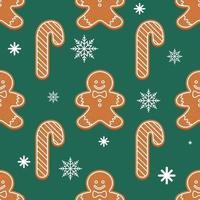 vetor padrão de pão de mel de Natal, formas diferentes. fundo verde feriado de ano novo com flocos de neve