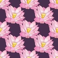 Padrão sem emenda de vetor de flores de lótus, delicadas cores rosa em um fundo lilás escuro