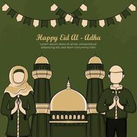 Cartões eid al-adha com mão desenhada povos muçulmanos e mesquita em fundo verde.