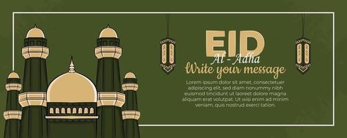 Modelo de banner eid al-adha com mão desenhada povos muçulmanos, mesquita, lanterna e ornamento islâmico em fundo verde.