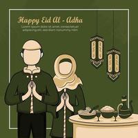 Cartões eid al-adha com mão desenhada de muçulmanos e comida islâmica em fundo verde.