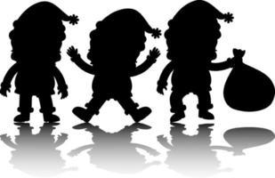 conjunto de silhueta de personagem de desenho animado de papai noel com reflexo vetor