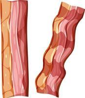 bacon fatiado no fundo branco vetor