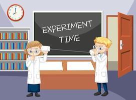 cena da sala de aula com um cientista fazendo experimento com o fone de corda vetor