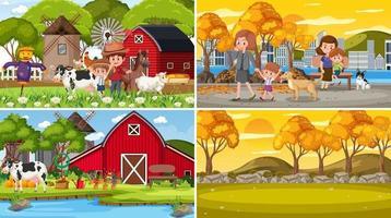 conjunto de diferentes cenas da natureza em estilo de desenho animado vetor