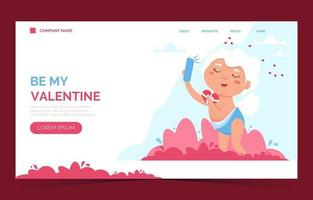 Valentine Cupid love angel landing page. menino bonito ou cupido de menina. anjo voador vetor