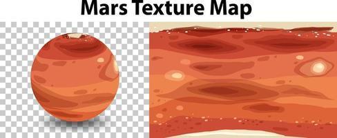 planeta marte com mapa de textura de marte vetor
