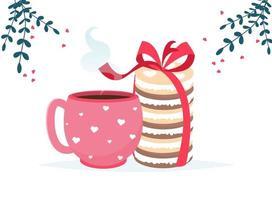 amo a xícara de café, sobremesa de macaroon e cartão de doces de chocolate. te amo cartão. vetor