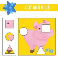 cortar e colar a planilha. jogo para crianças. planilha de desenvolvimento educacional vetor