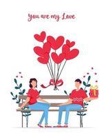 cartão de presente de namoro romântico de dia dos namorados. amantes relacionamento duas pessoas. casal sentado no banco. casal apaixonado. vetor