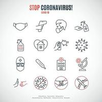conjunto de ícones de proteção covid-19. coleção de ícones de linha simples de conscientização de coronavírus. vetor