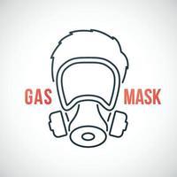 homem em ícone de linha de máscara de gás isolado no fundo branco. vetor