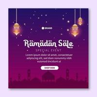 modelo de postagem de mídia social de venda do ramadã. publicidade em banner da web para cartão comemorativo, voucher, modelo de postagem de mídia social para evento islâmico vetor