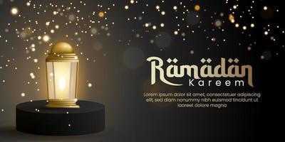 modelo de plano de fundo ramadan kareem em estilo desfocado. Pódio 3D e lanterna realista para cartão de felicitações, voucher, pôster, modelo de banner para evento islâmico