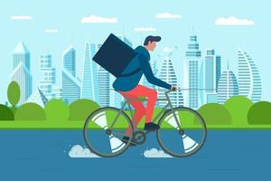 jovem correio masculino com caixa de mochila, bicicleta e carrega pacotes de mercadorias e alimentos nas ruas da cidade moderna. serviço de pedidos de entrega ecológica de ciclo rápido. ilustração vetorial