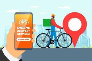conceito de aplicativo de serviço de pedidos de entrega rápida de bicicletas. mão segurando o smartphone com pino de localização geotag gps na rua da cidade e correio expresso com mochila.