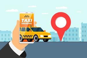 conceito de aplicativo de serviço de pedidos de táxi. mão segurando o smartphone com endereço de chegada pino geotag gps localização na rua da cidade e táxi amarelo. vetor