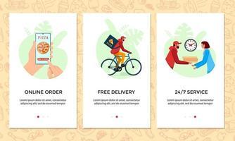 encomendar comida online conjunto de banner de aplicativo móvel. escolhe pizza no modelo de tela do smartphone. entrega expressa de bicicletas grátis do conceito de serviço de pizzaria. ilustração do vetor de envio de bicicleta de produto