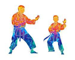 treinador abstrato com um menino no quimono, treinamento de caratê com respingos de aquarelas. ilustração vetorial de tintas vetor