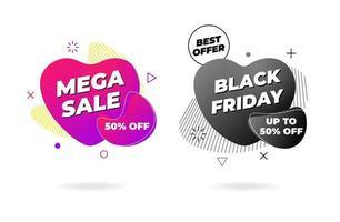 design de modelo de banner de venda. mega venda negra sexta-feira melhor oferta no conjunto de forma líquida abstrata. gradiente geométrico liso colorido elementos gráficos em forma de fluido de coração. vetor