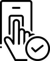 ícone de linha para aceito