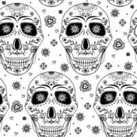 doodle crânio com flores e coração.