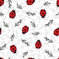 padrão sem emenda simples com joaninhas. padrão engraçado de primavera. vetor