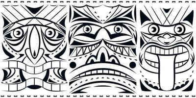 coleção de conjunto de máscara totem geométrica. impressão monocromática.