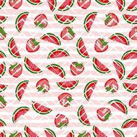 melancia e morango sem costura padrão no fundo geométrico. padrão de verão brilhante. cartoon vector fundo de frutas para tecido, papel de embrulho e capa de telefone.