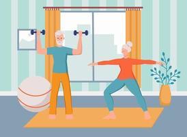 um casal de idosos pratica esportes em casa. o conceito de velhice ativa, esportes e ioga. dia do idoso. ilustração em vetor plana dos desenhos animados.