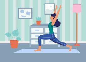 uma jovem pratica ioga em casa. O conceito de vida diária, o lazer diário e as atividades de trabalho. ilustração em vetor plana dos desenhos animados.